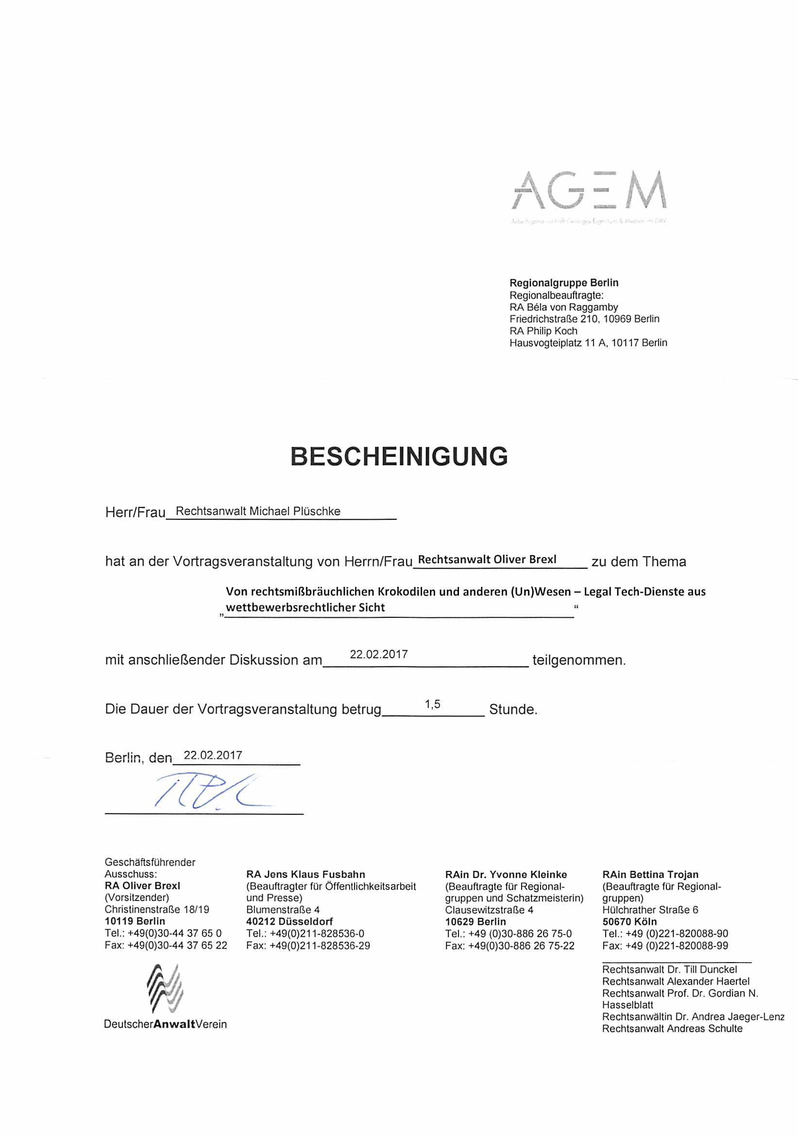 AGEM-Bescheinigung 2017