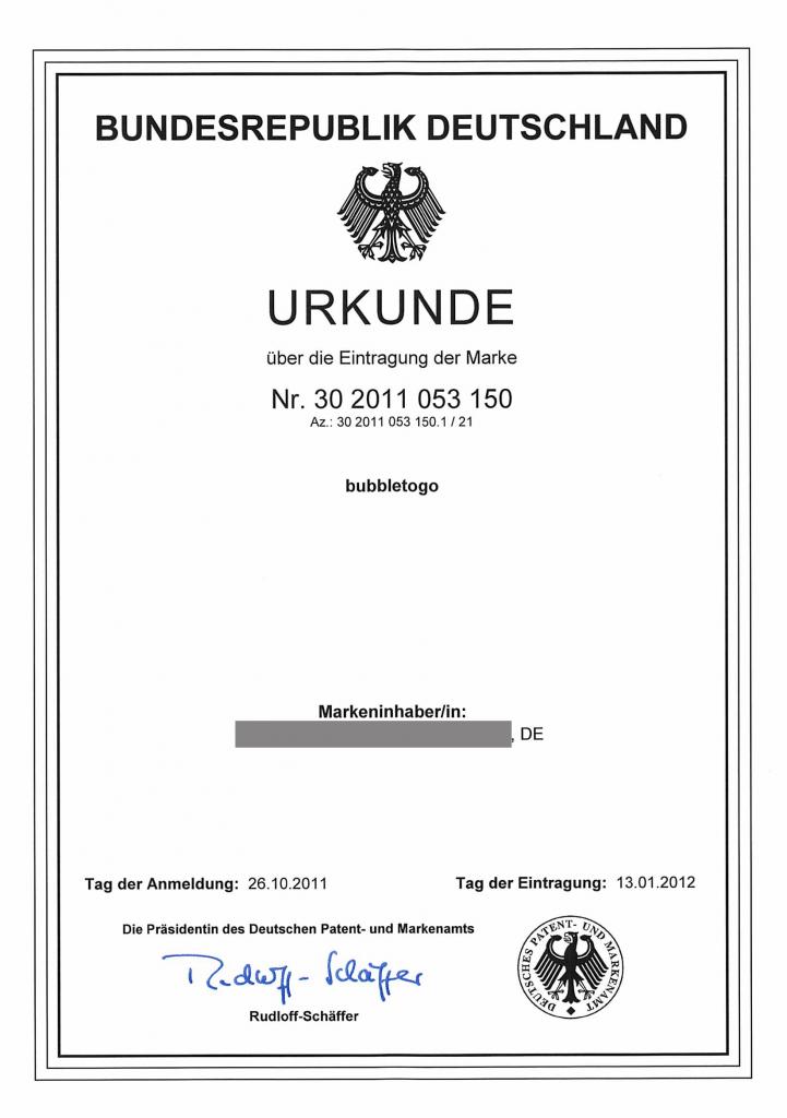 Markenurkunde Marke DE 30 2011 053 150.1 - bubbletogo (Wortmarke)