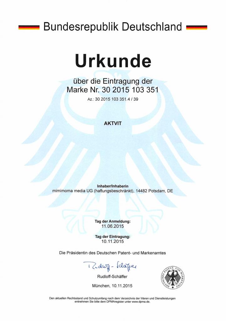 Markenurkunde Marke DE 30 2015 103 351.4 - AKTVIT (Wortmarke)